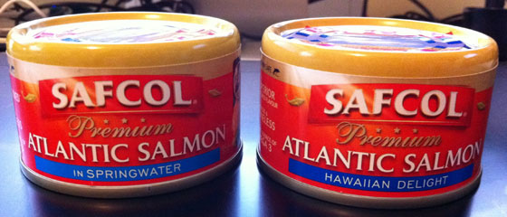 Safcol Salmon two cans nearly the same, only a minor colour shade separates them
