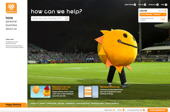 Bankwest Site Home Page